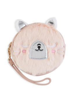 Round Faux Fur Bear Wristlet - 1124061592002