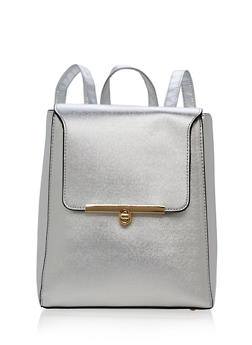 Faux Leather Flap Over Backpack - 1124061595185