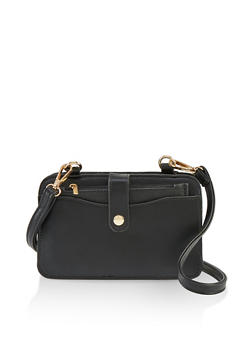 Tabbed Faux Leather Crossbody Bag - 1124061595500