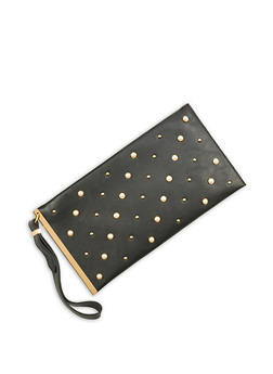 Faux Pearl Studded Clutch - 1124061596137