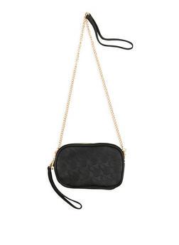 Embossed Pineapple Double Zip Crossbody Bag - 1124061596157