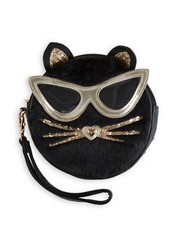 Round Faux Fur Cat Wristlet - 1124061596220