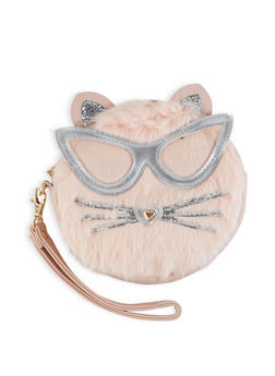 Round Faux Fur Cat Wristlet - 1124061596220