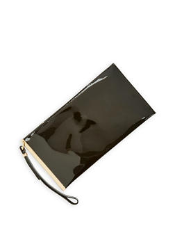 Faux Patent Leather Metallic Bar Clutch - 1124061596350