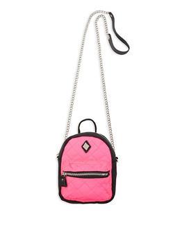 Mini Backpack Crossbody Bag - NEON PINK - 1124061597550