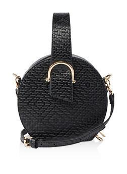 Textured Top Handle Crossbody Bag - BLACK - 1124061597610