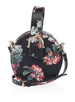 Textured Top Handle Crossbody Bag - BLK PTN - 1124061597610