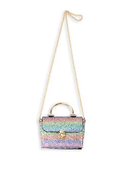 Small Glitter Chain Crossbody Satchel - 1124061598101