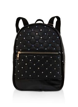 Sequin Quilted Backpack - BLACK - 1124067440014