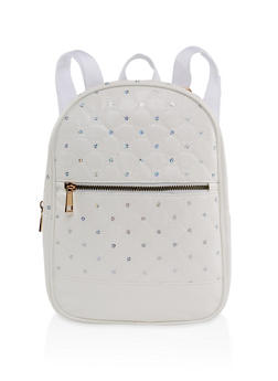 Sequin Quilted Backpack - IVORY - 1124067440014