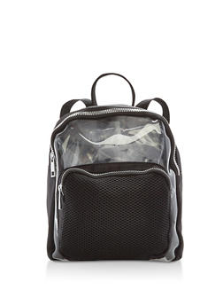 Clear Nylon Backpack with Mesh Detail - 1124067440207