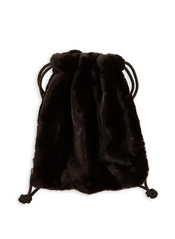 Drawstring Faux Fur Backpack - 1124067441209