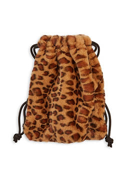 Drawstring Faux Fur Backpack - BROWN - 1124067441209