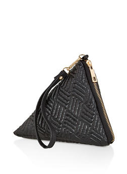 Faux Leather Pyramid Wristlet - 1124067442802