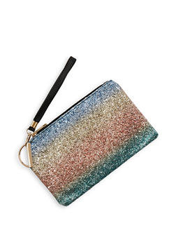 Rainbow Glitter Zip Clutch - 1124067446455