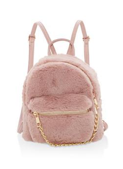 Faux Fur Mini Chain Backpack - 1124067447008