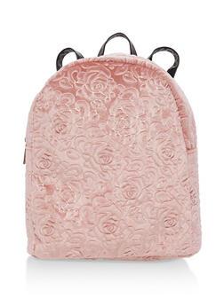 Embossed Rose Velvet Backpack - 1124067447012