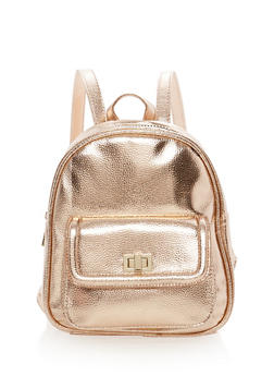 Textured Faux Leather Mini Backpack - ROSE - 1124067447015