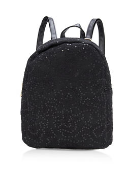 Sequin Lace Backpack with Faux Leather Trim - 1124067447717