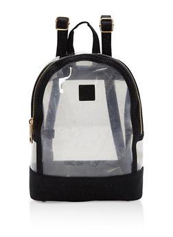 Glitter Trim Clear Mini Backpack - 1124067448007