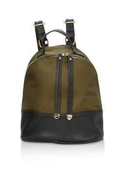 Color Block Faux Leather Mini Backpack - 1124067448008