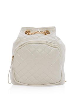 Quilted Faux Leather Mini Backpack - 1124067448012