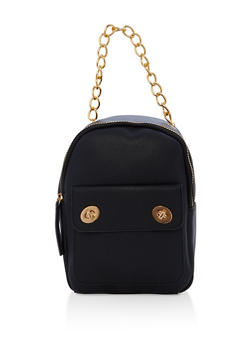 Textured Faux Leather Small Chain Strap Backpack - BLACK - 1124067448013