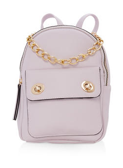 Textured Faux Leather Small Chain Strap Backpack - LILAC - 1124067448013