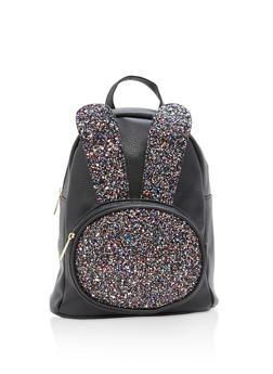 Glitter Bunny Ear Faux Leather Backpack - 1124067448016