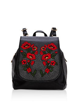 Textured Faux Leather Floral Embroidered Backpack - 1124067448017