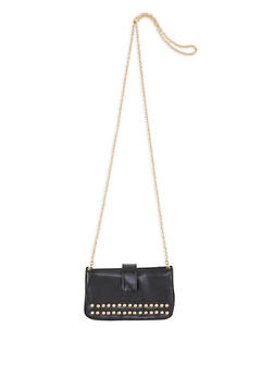 Faux Saffiano Leather Studded Crossbody Bag - 1124067448018