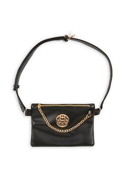 Faux Leather Metallic Accent Belt Bag - 1124067448020