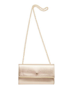 Rectangular Faux Leather Crossbody Bag - 1124067448021