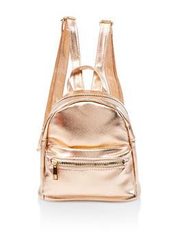 Mini Faux Leather Backpack - ROSE - 1124067448029