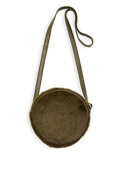 Round Faux Fur Crossbody Bag - 1124067448032