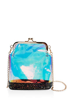 Iridescent Kiss Lock Crossbody Bag - 1124067448034
