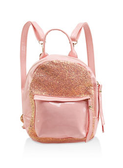 Small Glitter Faux Patent Leather Backpack - 1124067448069