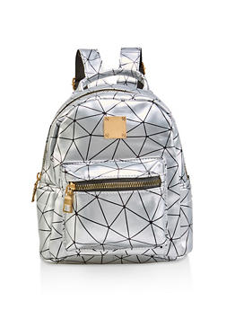 Small Geometric Print Backpack - 1124067448070