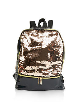 Reversible Sequin Faux Patent Leather Backpack - 1124067448072