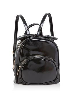 Mini Faux Patent Leather Bow Backpack - 1124067448078