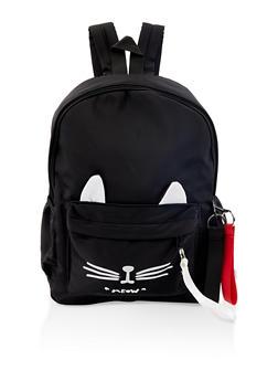 Cat Ear Nylon Backpack - Black - 1124067448079
