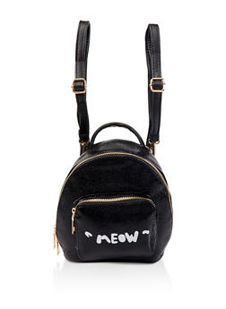 Meow Graphic Mini Backpack - BLACK - 1124067448081