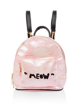 Meow Graphic Mini Backpack - PINK - 1124067448081