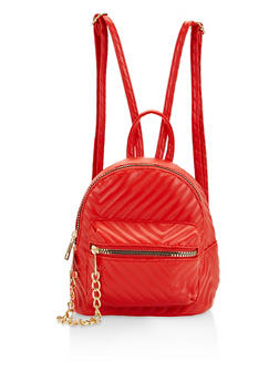 Small Chevron Quilted Backpack - 1124067448800