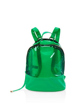 Clear Color Block Backpack - GREEN - 1124067448887