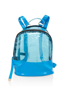 Clear Color Block Backpack - BLUE - 1124067448887