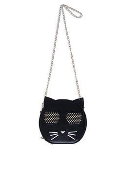 Round Studded Cat Crossbody Bag - 1124067449008