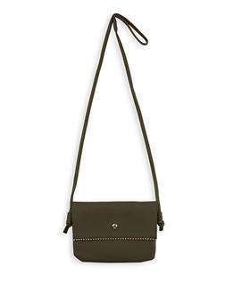 Metallic Detail Faux Leather Crossbody Bag - 1124067449011