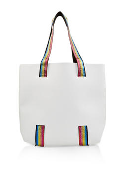 Rainbow Shimmer Strap Faux Leather Tote Bag - 1124067449013