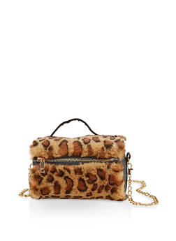 Faux Fur Chain Crossbody Bag - BROWN - 1124067449034